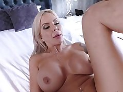 Milf got a massive creampie for her fluffy pussy.