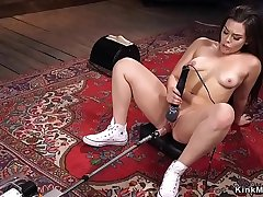 Hottie rides Sybian and fucks machine