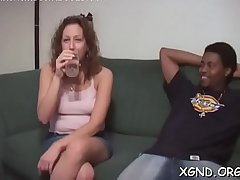1st time faced with shaking black cock up her face hole