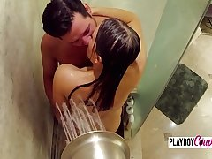 Sexy couple engages in pre party sex in the showers before heading down
