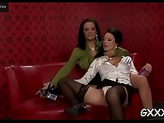Elegant playgirl gets her spicy cunt toyed with a big vibrator