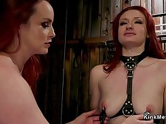 Two redhead slaves getting butts whipped