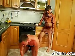 Lustful bitch dominates her paramour and makes him worship cunt