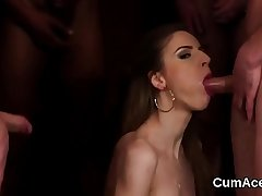 Flirty honey gets jizz load on her face eating all the cream