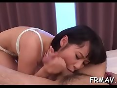 Lovely asian arouses with awesome blowjob during trio
