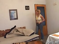 Hot old and young sex with cute babe jerking off granddad