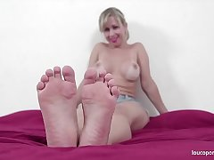 Mirella big ass showing hot body, feet and soles! Amazing foot fetish video!