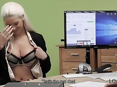 LOAN4K. Blonde goddess offers her wet slits for necessary credit