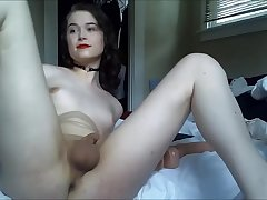 Shemale Angel Dildoing Her Anus And Masturbating On Webcam