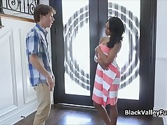 Nude sunbathing ebony blows peeping neighbor