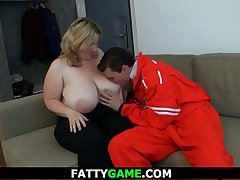 Huge boobs chubby blonde plumper pleases a stranger