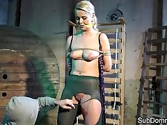 Beautiful submissive bound and flogged