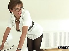 Cheating english milf lady sonia showcases her gigantic globes