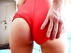 Most PERFECT CAMELTOE Teen Almost Tight Spandex GRIDGIRL Suit