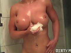 Female Muscle Barbie Megan Rubs Her Pussy In The Shower