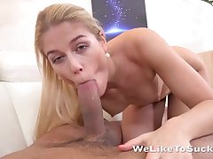 Peaches worships BF's hard bulge using mouth and hands