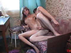 Huge Russian dick cums inside tight vagina of a gal