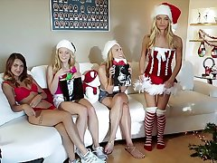 GIRLS GONE WILD - Horny Sorority Sisters Celebrate Christmas With Hot Lesbian Sex