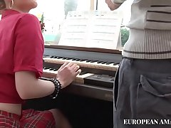 The music teacher as well as teaching how to play the piano to the young girl partisan also teaches her to take it in the ass
