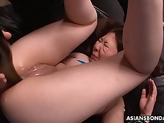 Curvy Asian girl got toyed and slapped to by perverts