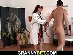 Hot redhead old woman sucks and rides his meat
