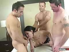 Slutty babe got gangbanged by three dudes hard