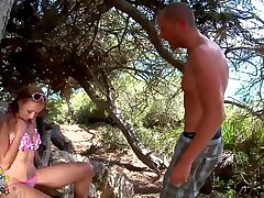 Krystal Wallas fucked by two horny guys in the woods