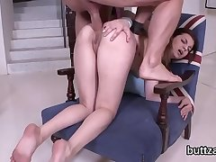 Striking semi-naked slender sweetie gets nailed in gaped anal