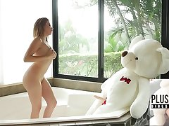 18yo beauty from Columbia and her favorite plush toy teddy bear Miguel sex in a bathroom