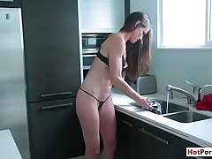 Classy MILF stepmom gives handjob to stepson like a pro