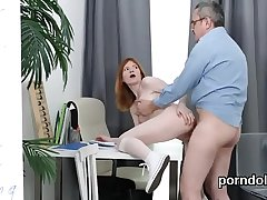Erotic schoolgirl was seduced and fucked by elderly lecturer